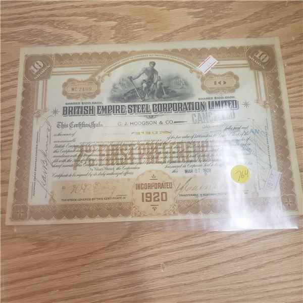10 shares with British Empire Steel Corporation 1928
