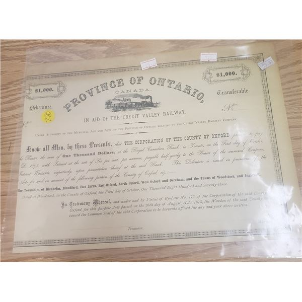 $1000 debenture in aid to construct the Credit valley Railway  issued in 1873 railway collector