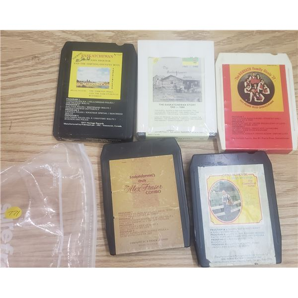 8 track 5 tapes of local Saskatchewan artists like Horvath Family from Prairie River Max Fraser Otto