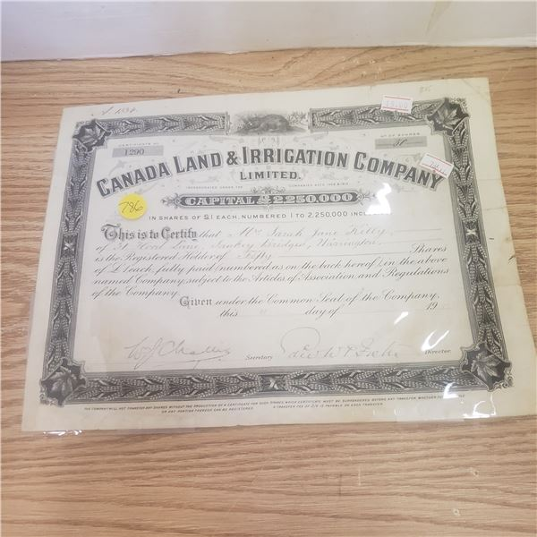 50 shares with Canada Land and Irrigation Co 1917