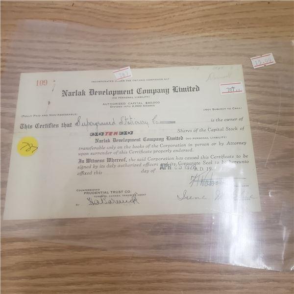 2000 shares of Narlak Development Co 1982