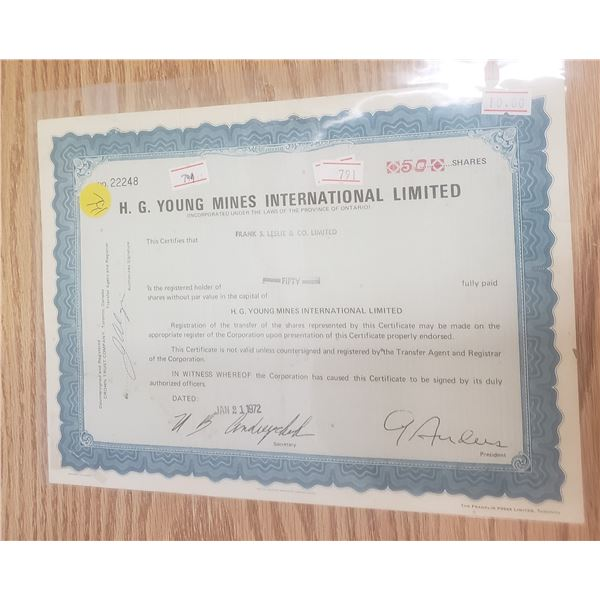 50 shares with HG Young Mines LTD 1972