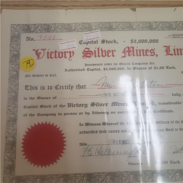 100 shares with Victory Silver Mines 1927