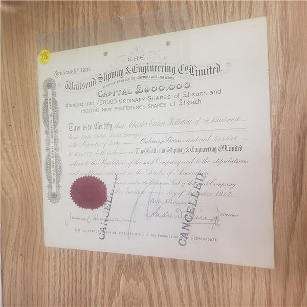 1922 60 shares of Callsend Slipman and Engineering Co ltd