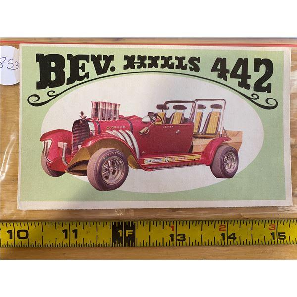 "1970 Topps Way Out Wheels #8 of 36 BEV. HILL 442  ""Beverly Hillbillies"" TV Hot Rod"