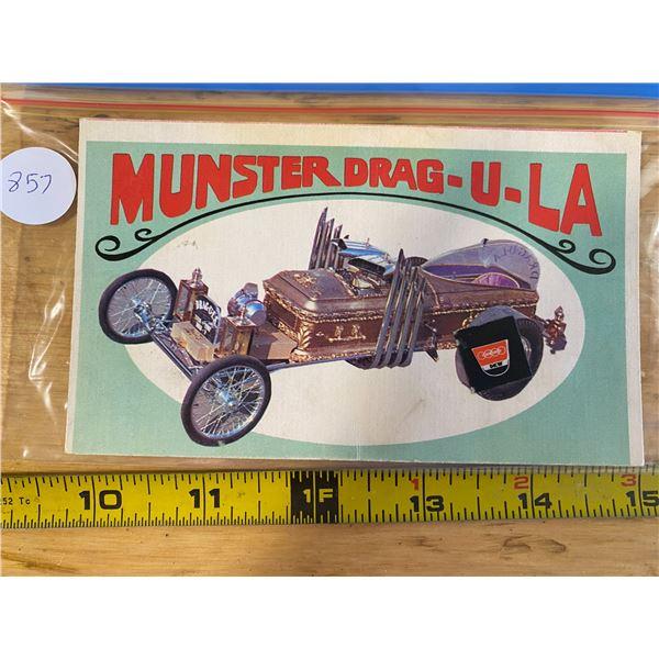 """1970 Topps Way Out Wheels #16 of 36 MUNSTER DRAG-U-LA  """"Munster"""" TV Dragster"""