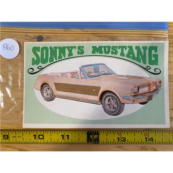 """1970 Topps Way Out Wheels #21 of 36 SONNY""""S GOLD MUSTANG  """"Sonny & Cher"""" Movie Car"""