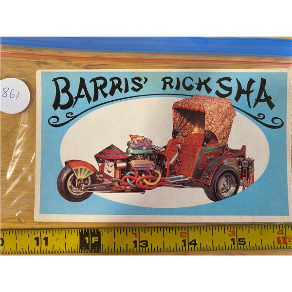 1970 Topps Way Out Wheels #22 of 36 BARRIS RICKSHA  Three – Wheeled Ricksha