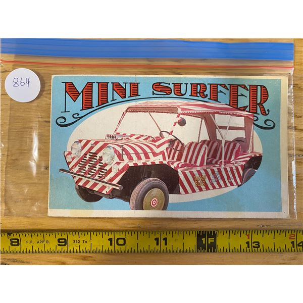 """1970 Topps Way Out Wheels #25 of 36 MINI SURFER """"Beach Boys"""" Record Car"""