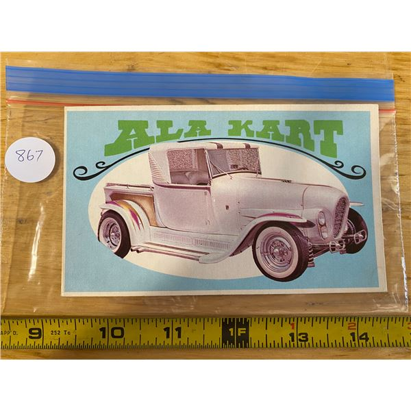 """1970 Topps Way Out Wheels #31 of 36 ALA KART  """"Hot Rod Gang Movie Rod"""""""