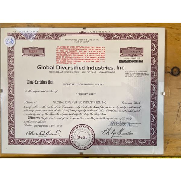 Stock Certificate Global Diversified Industries, Inc.  No face value.