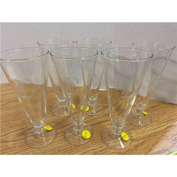 "8 Pilsner glasses The letter ""C"" Etching"