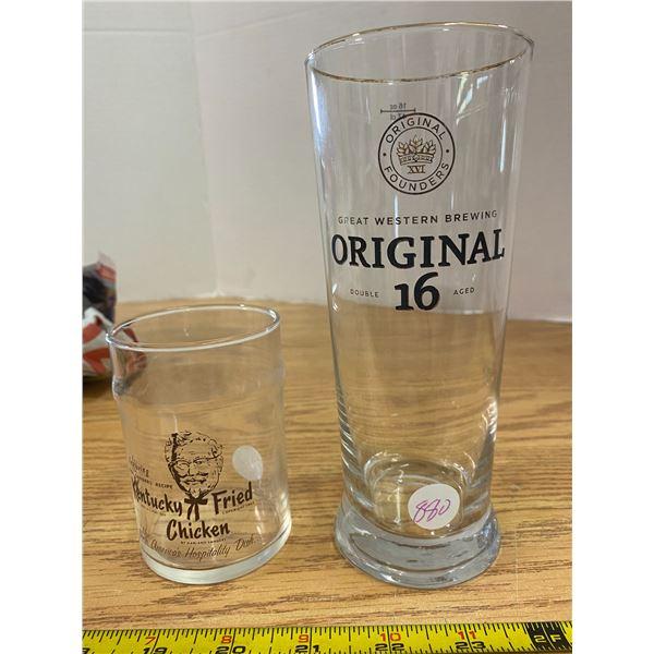 Vintage  KFC juice glass and Original 16 beer glass