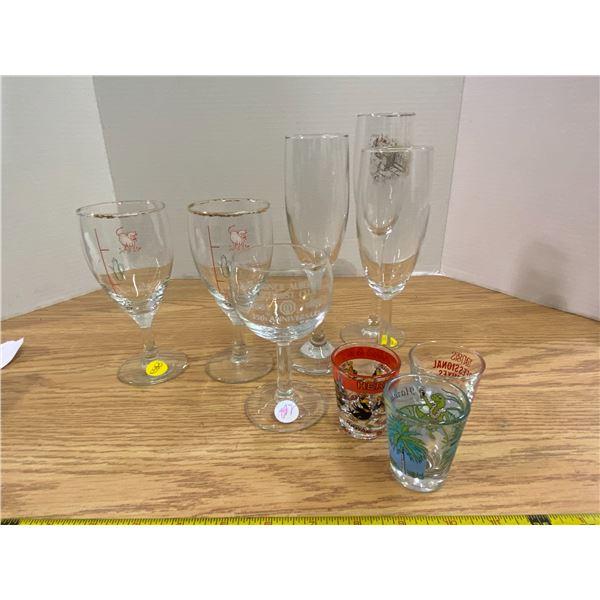 Assortment cocktail glasses 3 flute, 3 wine, and 3 shot glasses