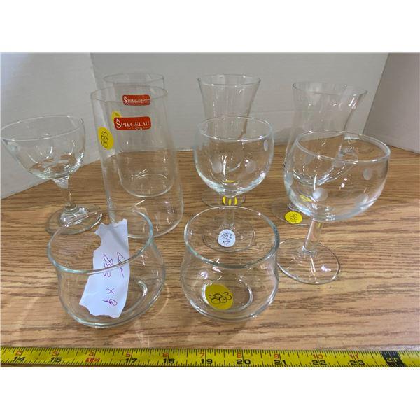 Assortment of cocktail glasses 9 glasses