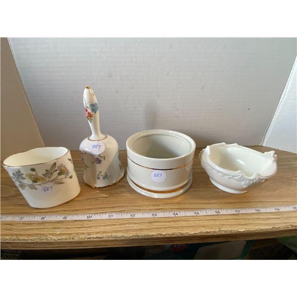 Small vase, Small Dish, Bell, Sugar bowl Vase and Small dish are bone china made by Coalport, Englan