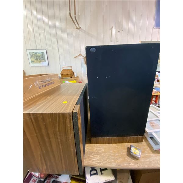 Two Speaker Boxes Sears 3 way, snap off front, NO SPEAKERS.  Great for end table or plant stand.