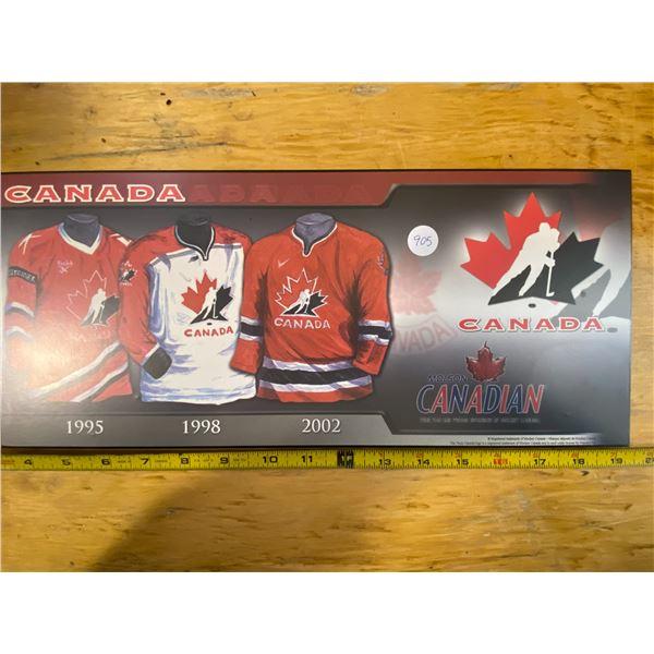 Team Canada Logo Hockey Uniforms 1995, 1998, 2002.