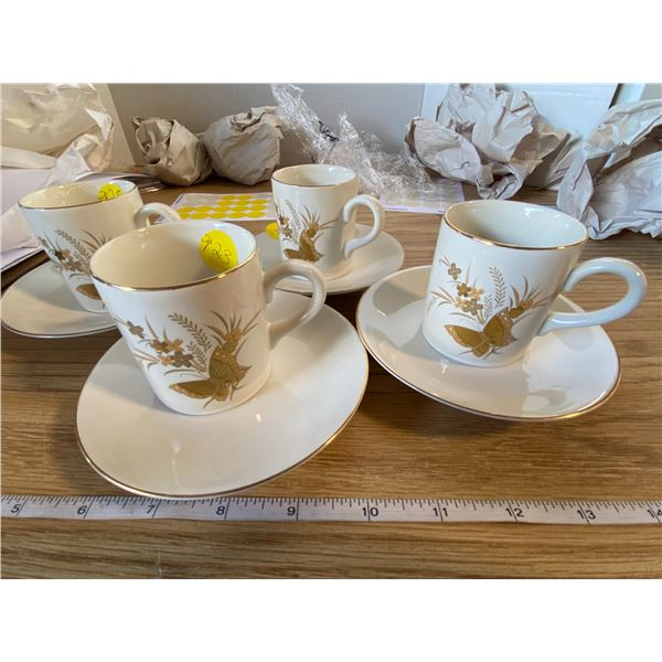 Tea cups and saucer set (4) in Gold Butterfly pattern Vintage Cho Cho Otagiri Japan, cups 2 ½  heigh