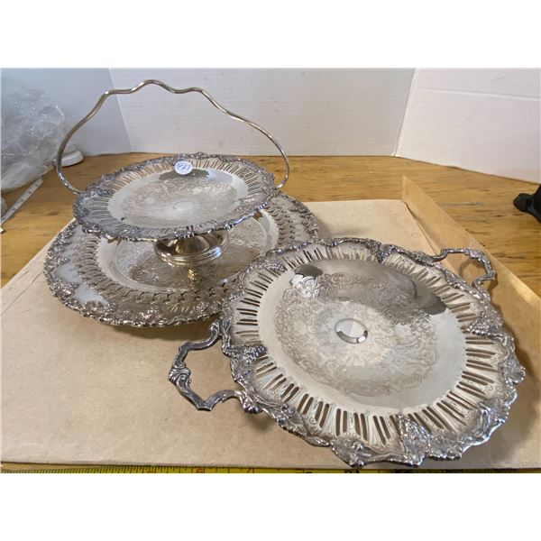 3 Piece Set Serving Trays Old English Reproduction E.P. on Copper