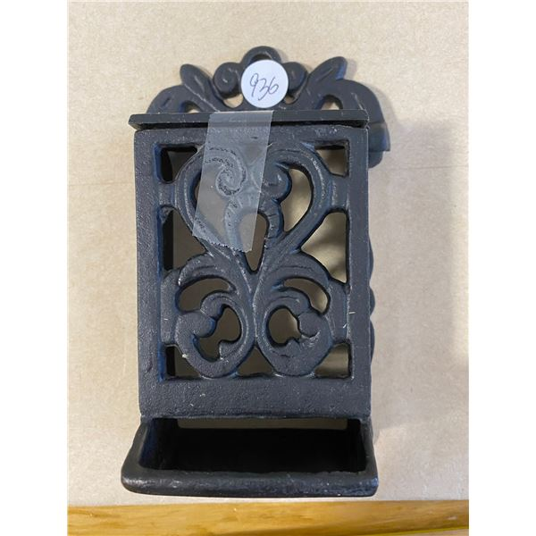 Vintage Black Cast Iron Match Stick Holder Hanging Wall Mount Taiwan, in good condition.