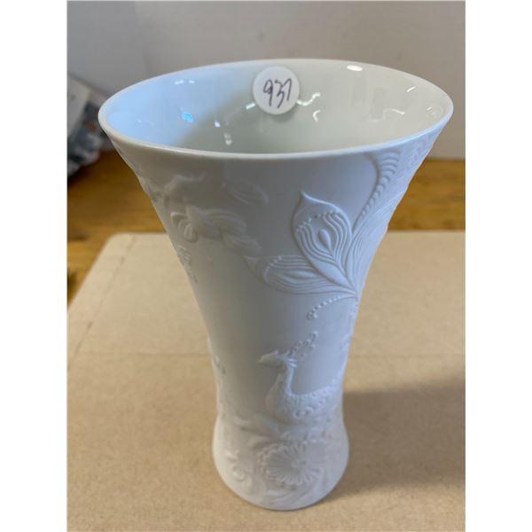 Kaiser W. Germany Vase White Bisque Porcelain Floral Bird Pattern # piece