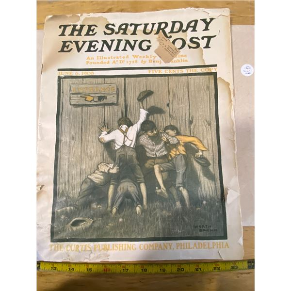 1908 Saturday Evening Post An Illustrated Weekly Magazine Founded by Benj. Franklin.  40 Pages
