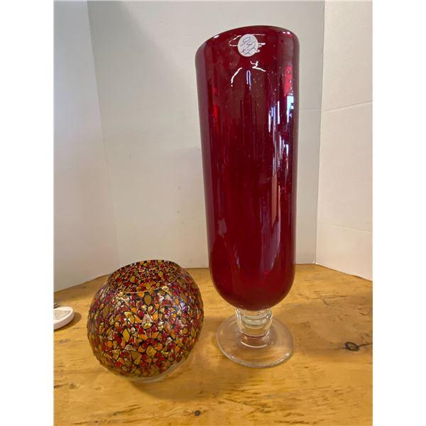 2X Vase  Red