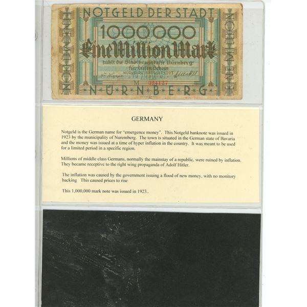 One million mark note notgeld Nuremburg Nurnburg 1000000 mark note
