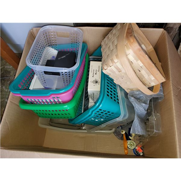 BOX OF BASKETS & SEWING SUPPLIES
