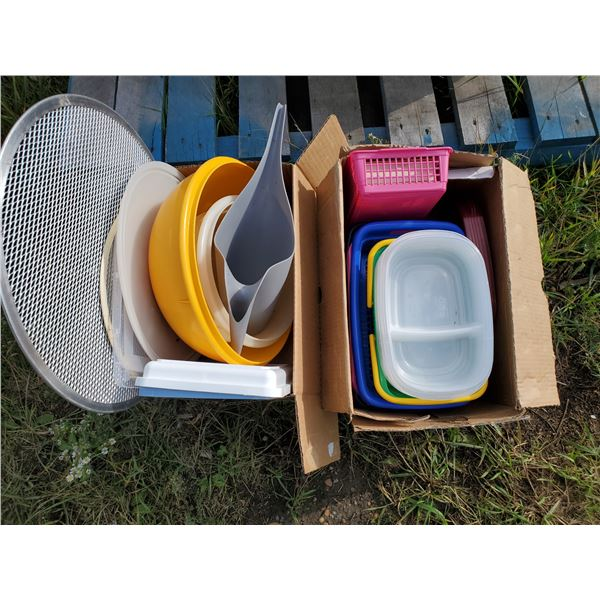 2 BOXES OF BASKETS & CONTAINERS