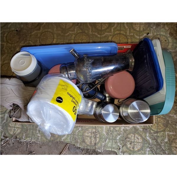 BOX FULL OF THERMOS', HOUSEHOLD CANISTERS,  ETC