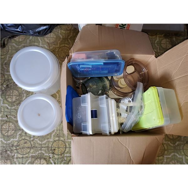 BOX FULL OF CONTAINERS & JARS