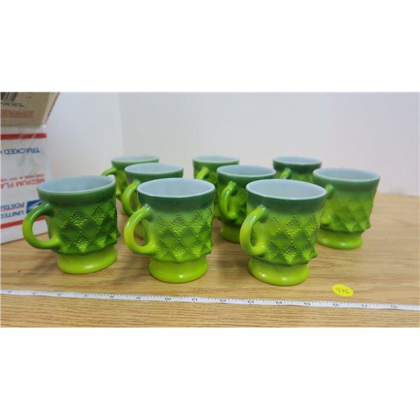 Set of 9 Fireking Green Diamond Mugs