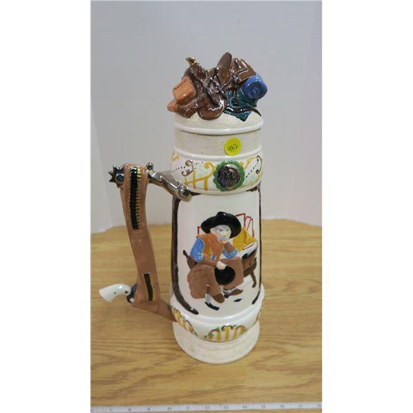 Large Ceramic Cowboy Stein