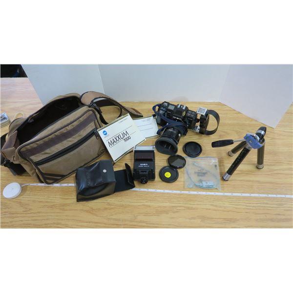 Minolta Maxxum Auto Camera Outfit with Flash, Tripod, Manuals and Camera Case