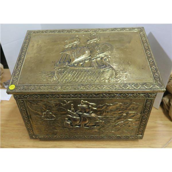 Vintage Brass and Wood Kindling Box