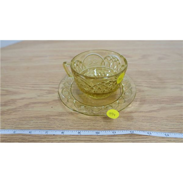 Yellow Ware Cup and Saucer