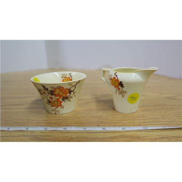 "English ""Sunbeam"" Tudor Ware Creamer and Sugar Bowl"