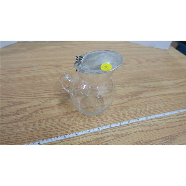 Vintage Glass Cream Pitcher with a Silver Lid
