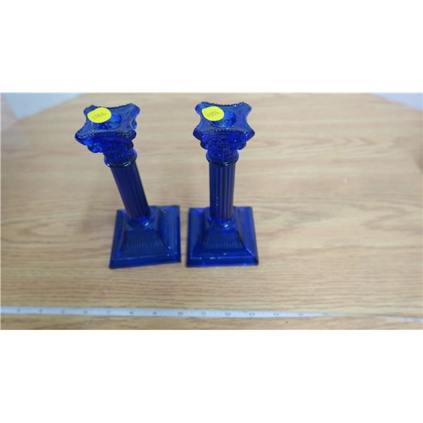 Pair of Vintage Blue Glass Candlestick Holders