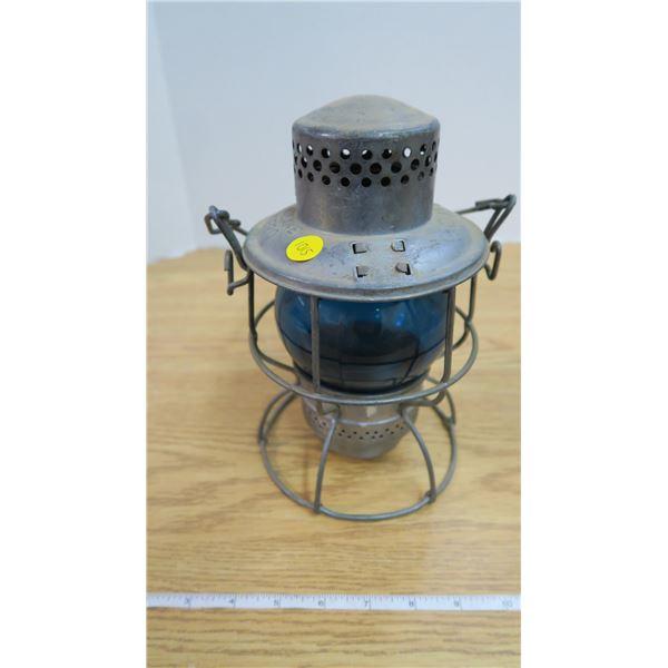 Antique CNR Adlake Kero Lantern Blue Glass