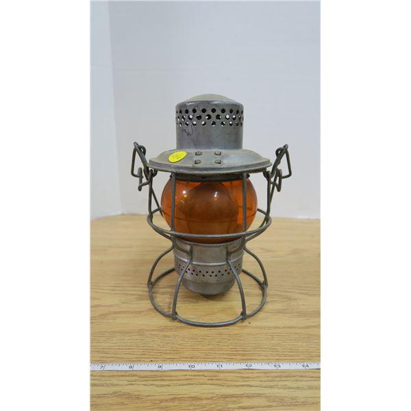 Antique CNR Adlake Kero Lantern Orange Glass