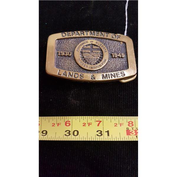 Belt buckle; department of Lands & Mines - solid brass 1930-1949