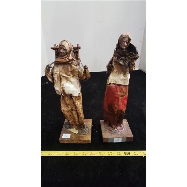 Pair of paper mache handmade figurines