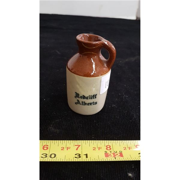 "Souvenir promo Redcliff Potteries Alberta small 3"" jug"