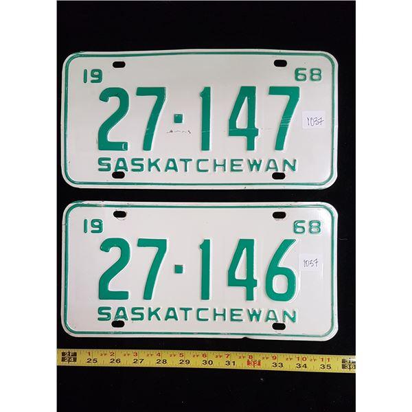 Saskatchewan license plates 1968 in sequence