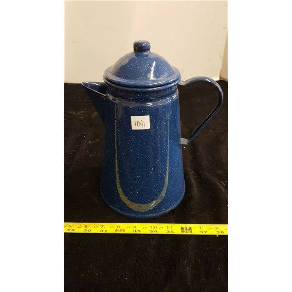 Blue enamel cowboy coffee pot with filter