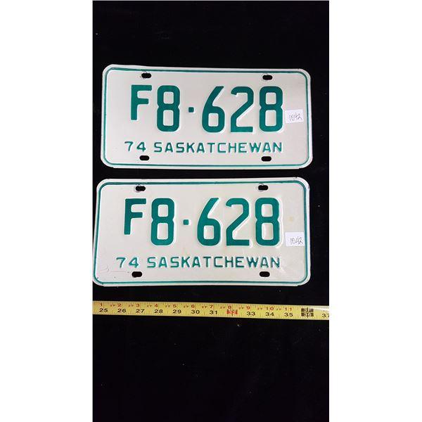 1974 Sask. Farm license plates matching pair
