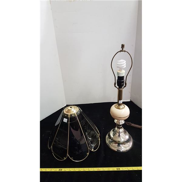 Table lamp - brass & glass shade